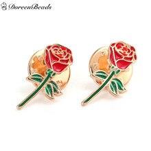 DoreenBeads 1 шт. эмаль металлический цветок розы значки на рюкзак булавки Броши Позолоченные для одежды сумки джинсы украшения