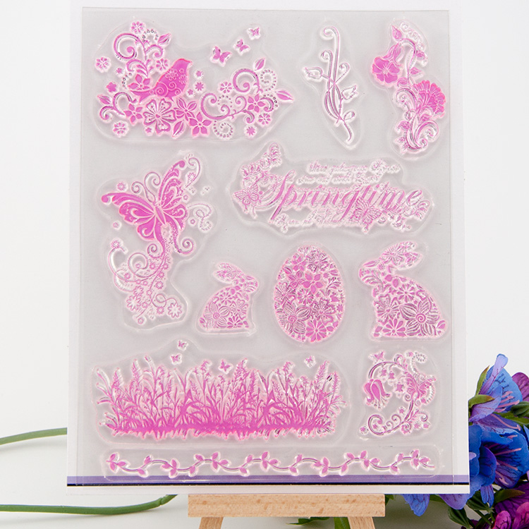 Clear stamp Pink butterfly with flowers Scrapbook DIY Photo Album Card Hand Account Rubber Product Transparent Seal Stamps lovely animals and ballon design transparent clear silicone stamp for diy scrapbooking photo album clear stamp cl 278