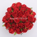 Free Shipping,New style 26 Heads/Bunch Red Artificial Silk Flower Roses Posy Wedding Bridal Bouquet Flowers 25cm DIY gift(HT34)