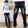 2017 Spring Children Jeans Boys Solid Jeans Pants Light Wash Boys Jeans for Boys Casual Elastic Waist Kid Children's Jeans P242