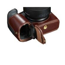 حقيبة كاميرا كانون EOS R ، جلد طبيعي ، نصف جسم ، فتحة بطارية