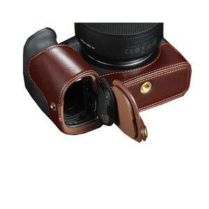 Image 1 - حقيبة كاميرا كانون EOS R ، جلد طبيعي ، نصف جسم ، فتحة بطارية