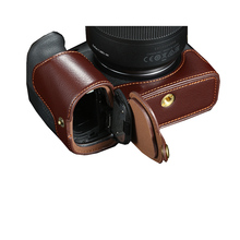 Real Genuine Leather half case Camera bag Cover half Body For Canon EOS R With Battery Opening