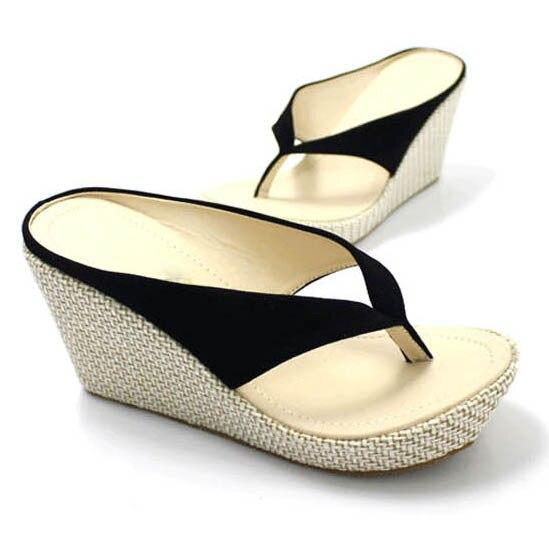 Женские домашние сандалии модные босоножки-вьетнамки на платформе Босоножки на танкетке пляжные шлепанцы на высоком каблуке размера плюс; большие размеры 33-41 - Цвет: black