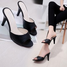Liren 2019 Summer PU Fashion Lady Fish Mouth Toe Sandals High Thin Heels Open Sexy Casual Shoes Size 34-40