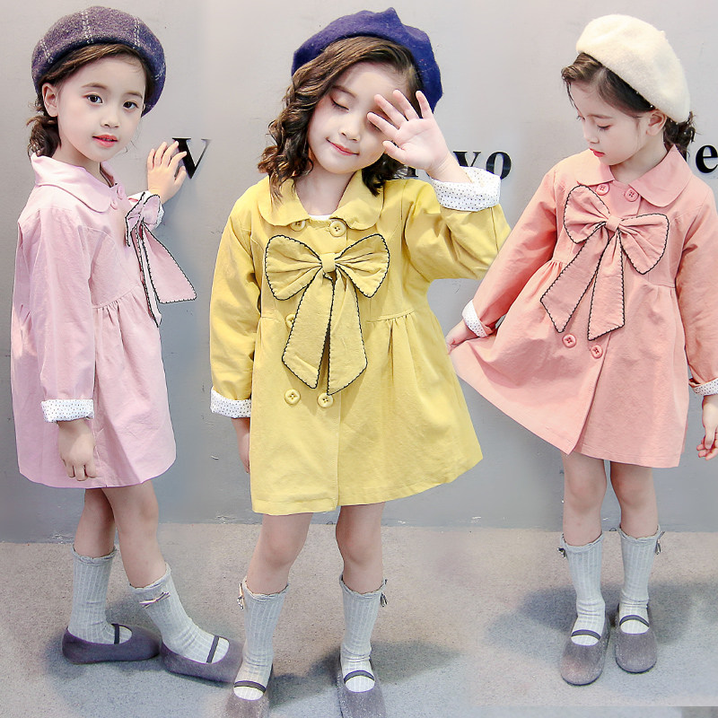 Children's Spring Autumn Kids   Trench   Coat With Bow Baby Girl Long Sleeve Double-Breasted Coat Girls Outerwear 2 3 4 5 6 Year Old