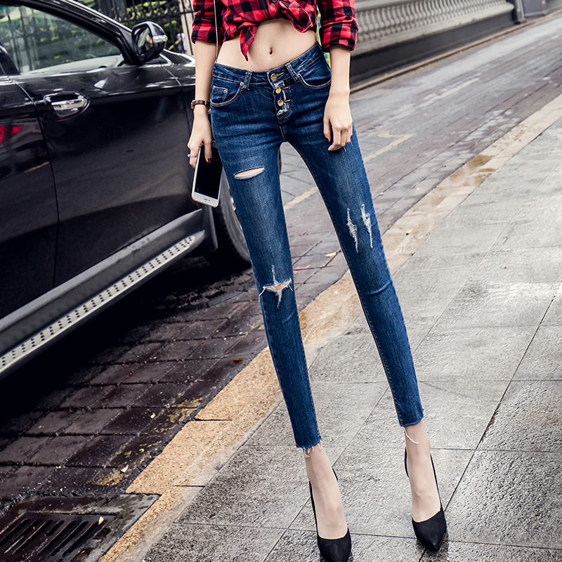 Woman High Waist Skinny Jeans Slim Blue Denim Hole Pencil Pants Stretch Women Plus Size Sexy Jeans Pants L917