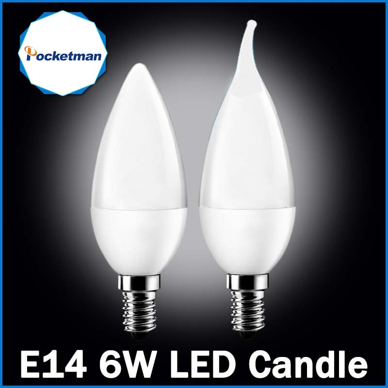 LED Candle Lamp 6W LED E14 LED Candle Light SMD2835 AC220-240V LED Bulb Warm White/White Energy Saving 1pc Free Shipping35
