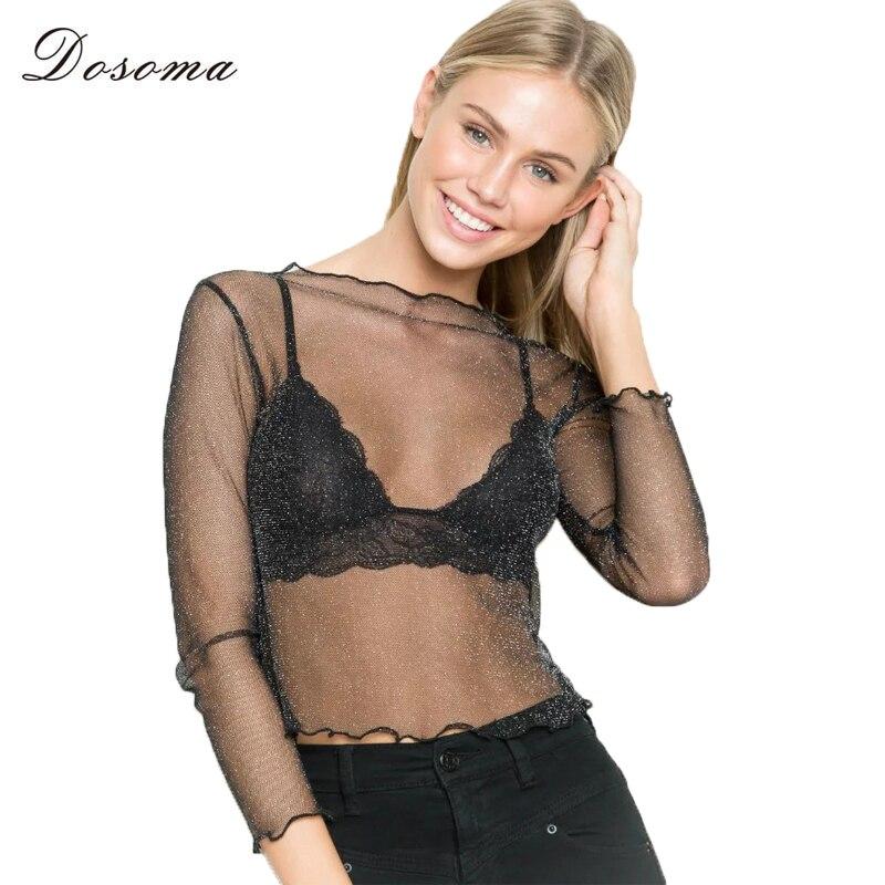 Dosoma sexy mesh mujeres blusa 2017 camisa tops blusas de manga larga blusa tran