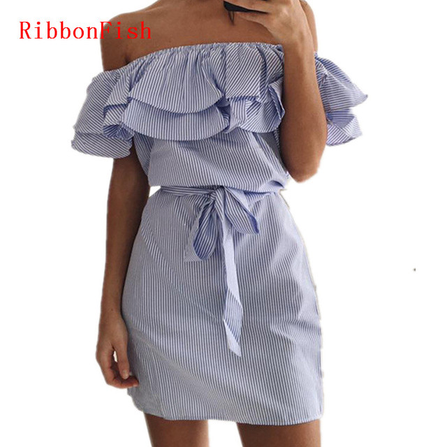 Off Shoulder Strapless Striped Ruffles Dress Women Summer Sundresses Beach Casual Shirt Short Mini Party Dresses DF0867