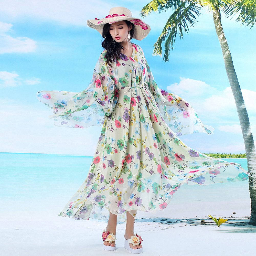 Women's Clothing 2017 Spring And Summer Womens V-neck Long-sleeve Beach Dress Bohemia Plus Size Full Dress Floral Holiday Sundress Easy To Repair