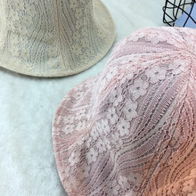 10pcs lot 01804-duxiao4070 summer lace flower Thin light shade lady leisure  cap women bucket hat wholesale b676bed1205a