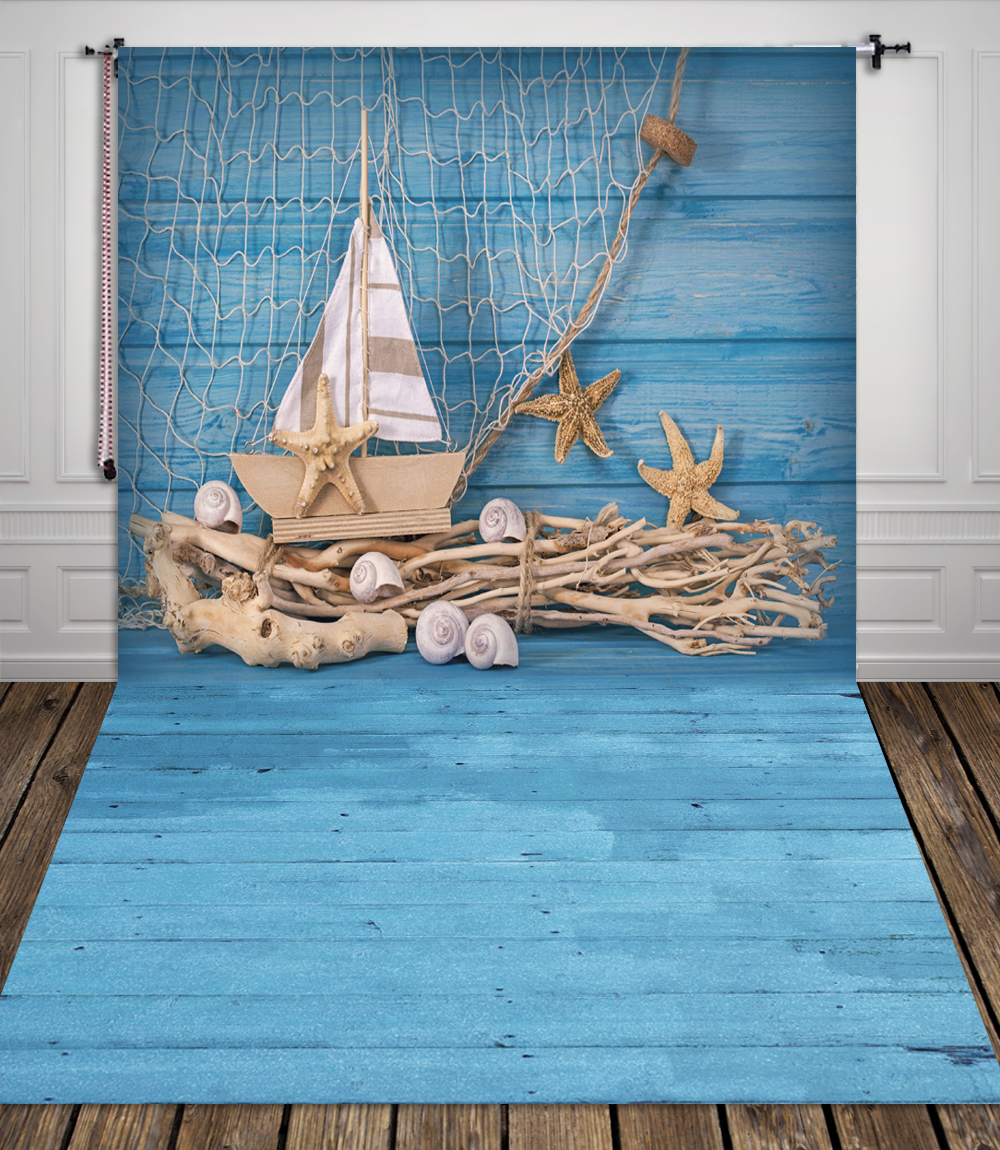 HUAYI blue wood photography backdrops fabric photo studio Fishing nets backdrop stand unique ...