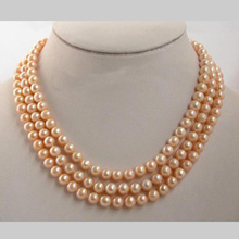 Stunning Real Pearl Jewellery, 3 Rows AA 7-8MM Pink Color Perfect Round Freshwater Pearls Necklace,New Free Shipping. new arriver real pearl jewellery 48inches 4 16mm gray rice freshwater pearls smoke crystal beads necklace free shipping