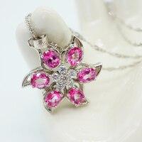 925 Sterling Silber frauen Halskette Mädchen Fine Jewellery Kette Natürliche Rosa Topaz Kristall Halskette für Frauen Schmuck