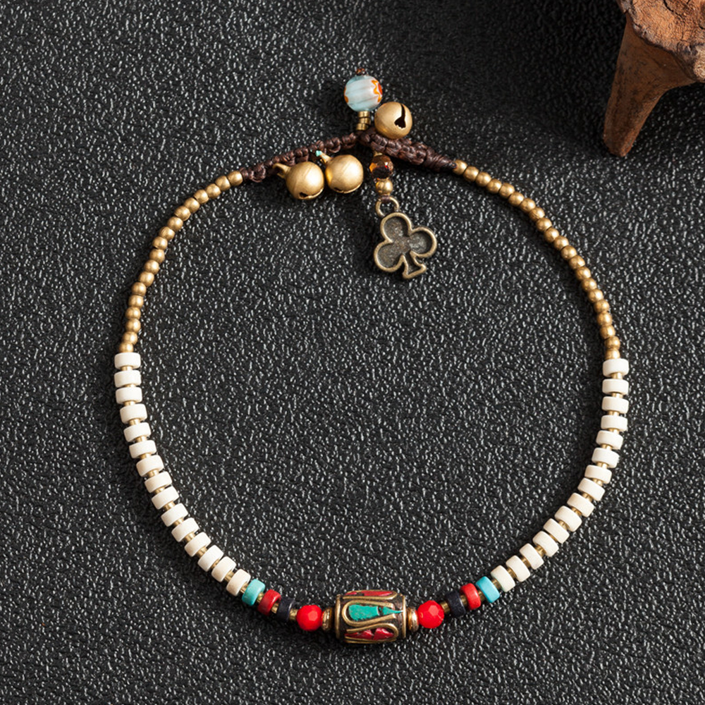 Ethnic Style Nepal Stone Round Charm Leg Anklets For Women Handmade Color Beaded Chain Ankle Bracelets Leg Foot Jewelry