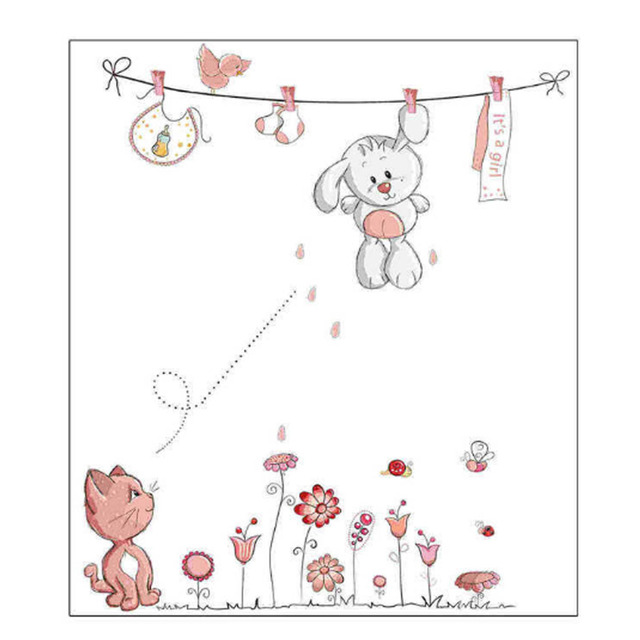 5070cm Super Cute Little White Rabbit Clothesline Wallpaper Background Wall Stickers For Kids Rooms