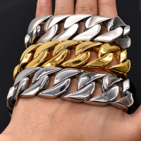 AMUMIU 24mm Wide Biker 316L Stainless Steel Big Heavy Curb Chain Link Bracelet Mens Boys Chain