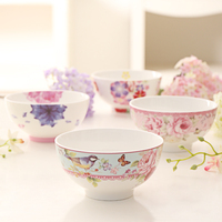 2 Pcs Bone China Bowls Rice bowl Household Porcelain Tableware Salad Bowl Fruit Bowl Flower Pattern Food Containers