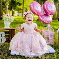 Adorabile Rosa Dell'abito di Sfera Ragazze di Fiore Abiti Da Sposa Appliques Del Merletto Di Compleanno Abiti per Bambine Custom Made