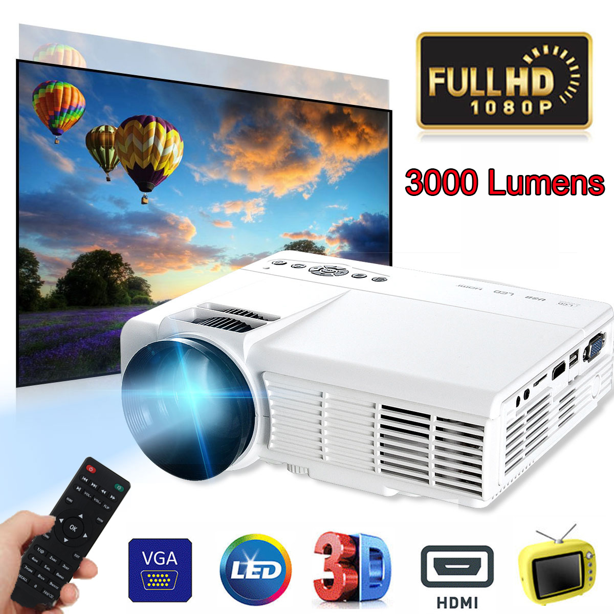 3000 Lumens 3D 1080P HD Mini Portable Projector Digital Projector For Home Theater Movie Home Beamer