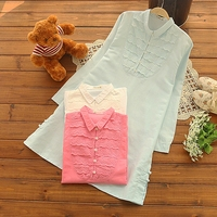 Bright Color Laceing Patchwork Loose Handmade Buttons Loose Long Doll Shirt