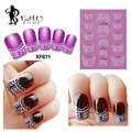 Beautome 1 hoja Nail Art 3D Stickers Decal French Tips manicura Vintage patrones cordón blanco cristales claros diseño #HS871