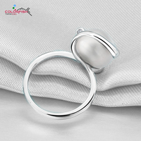 COLORFISH 10.5mm Pearl Silver Ring For Women Genuine 925 Sterling Silver Ring Round Fresh Water Pearl Fashion Party Jewelry