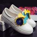 Pétalo Decoración Mujeres Blanco Casual Zapatos Planos de Cuero Genuino Resbalón En Holgazanes Creppers Lindos Pisos Alpargatas Zapatillas Deportivas