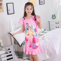 2019 Summer Cartoon Children Nightwear Short Sleeve Girls Sleepwear Princess Cute Pink Kids Nightgown Girls Loungewear