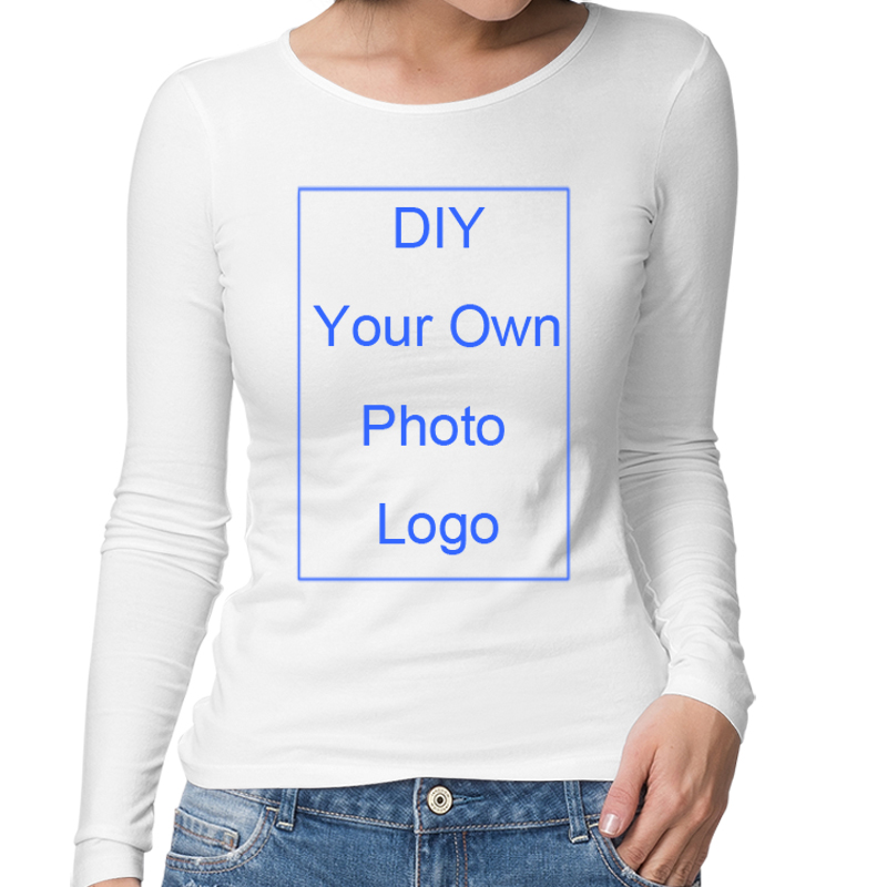 Custom Print Long Sleeve T Shirt for Women DIY Your Own Picture Photo LOGO Design Art in Customized Tops Print Jersey T shirt