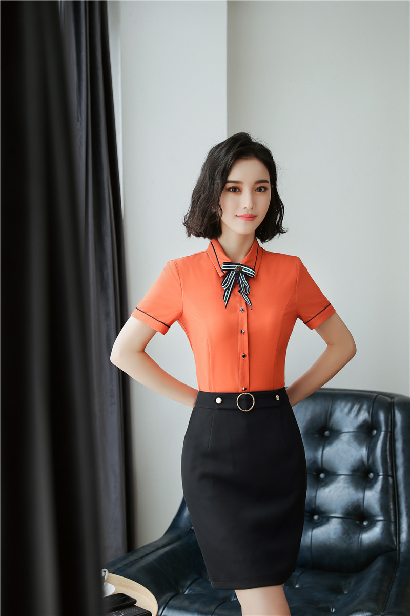OL Styles Summer Career Suits With 2 Piece Tops And Skirt Ladies Office Work Wear Uniforms Outfits Skirt Sets Plus Size Orange