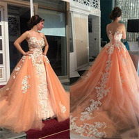 Illusion High Neck Peach Color Lace Appliqued Prom Gowns With Detachable Train Vintage Ball Gown Long Formal Party Dresses