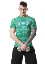 Red Plume Men's Compression T-Shirt , Green Lantern Sports Exercise Fitness T-shirt