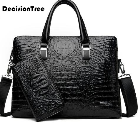 High Quality Crocodile Business Men Handbags Genuine Leather Waterproof Men Briefcases Multifunction Shoulder Laptop Bag LFB43