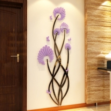 цена на Flower dance 3D Acrylic wall stickers Living room bedroom TV backdrop Creative wall decoration Hot sale