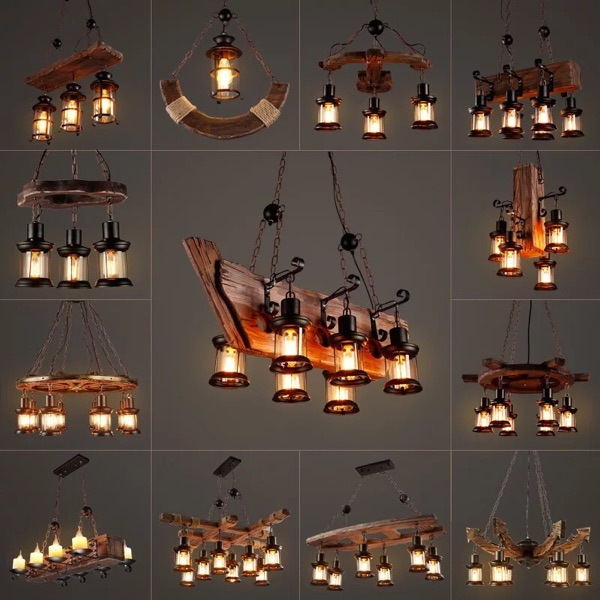 LOFT retro bar industrial wind country country solid wood chandelier personality old boat wood Chandelier mancera wind wood