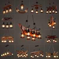 LOFT retro bar industrial wind country country solid wood chandelier personality old boat  wood Chandelier