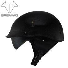 Genuine carbon fiber BRAMMO for Vintage Harley motorcycle helmet and half helmet motorcycle helmet personality super light