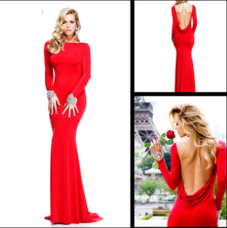 2014 Cheap Sexy New Red Long Sleeves Jersey Mermaid Prom gownes Backless  Beaded Evening Gowns Floor Length TE 92271 2b5aecf9893b