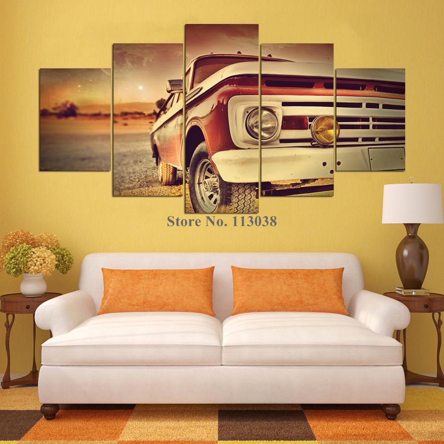 5 Panels Vintage Car Printed Canvas Painting Western Style Cars ...