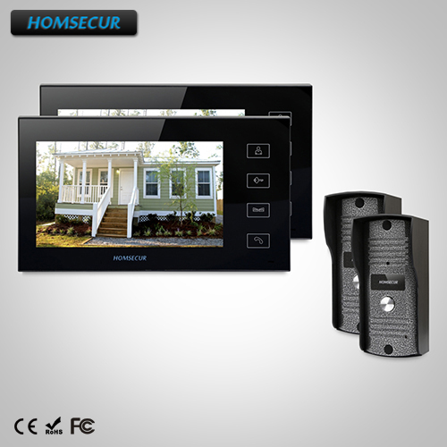 HOMSECUR 7 Wired Video Door Entry Security Intercom+Touch Button Monitor TC031Camera + TM704-B Monitor