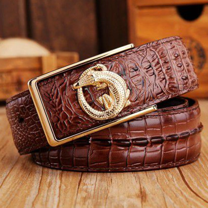 2018 brand new all-matched men's gold belt cowboy classic crocodile stylish belts men smooth buckle waist strap jeans