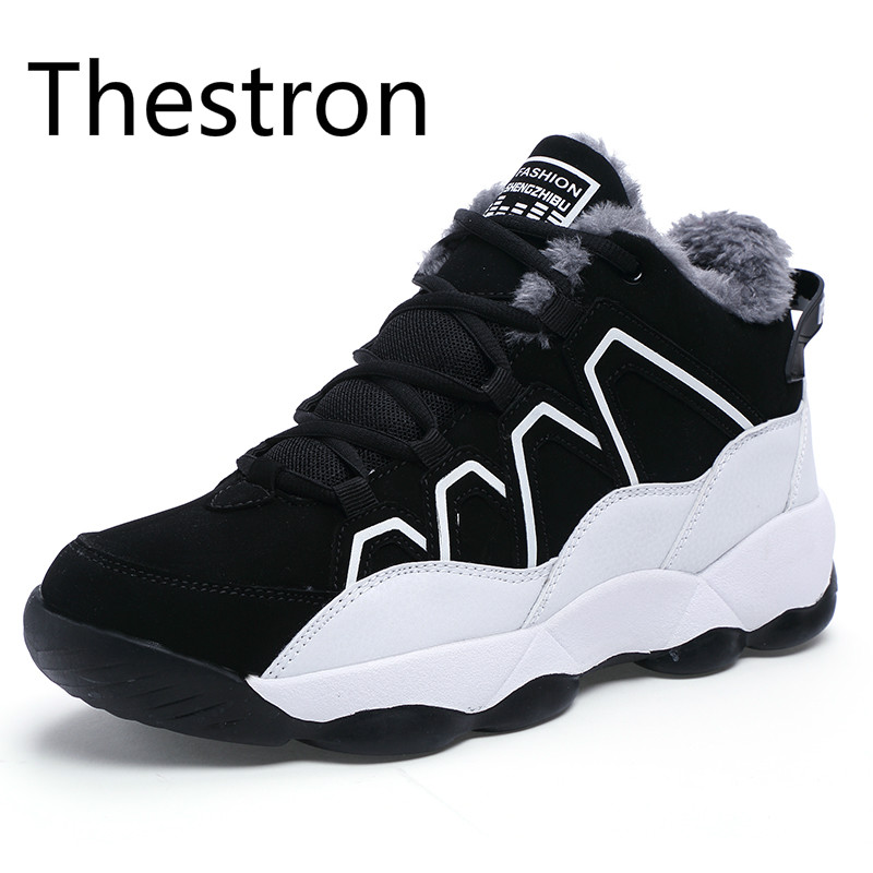 Thestron Running Shoes Men Sneakers Men Winter 2017 Plus Cashmere Warm Cold Discount To Do Activities Sport Shoes Men Air Black