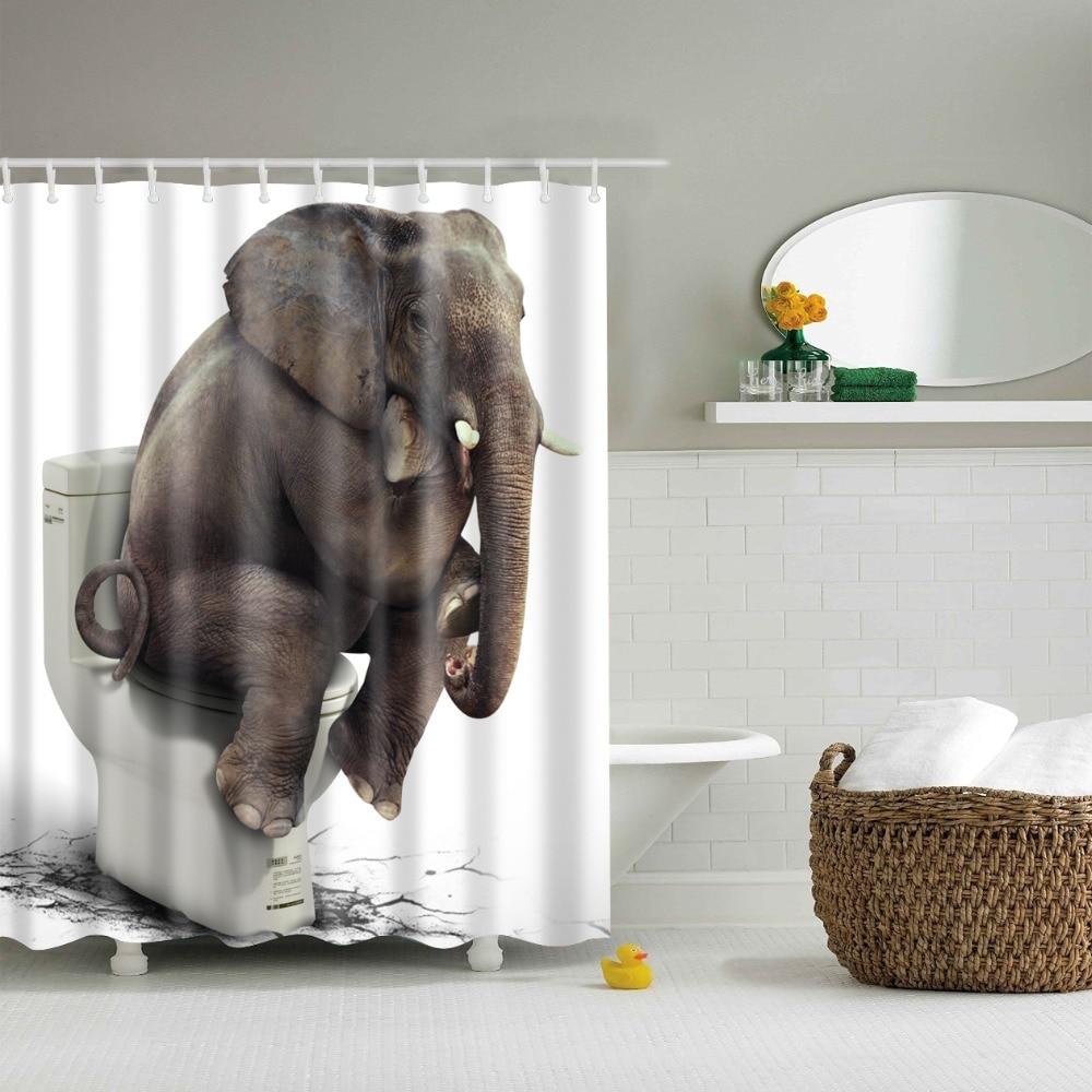 Waterproof bathroom curtains - Thinking Elephant Shower Curtains Waterproof Bathroom Curtains Polyester 180x180cm Decoration With Hooks China Mainland
