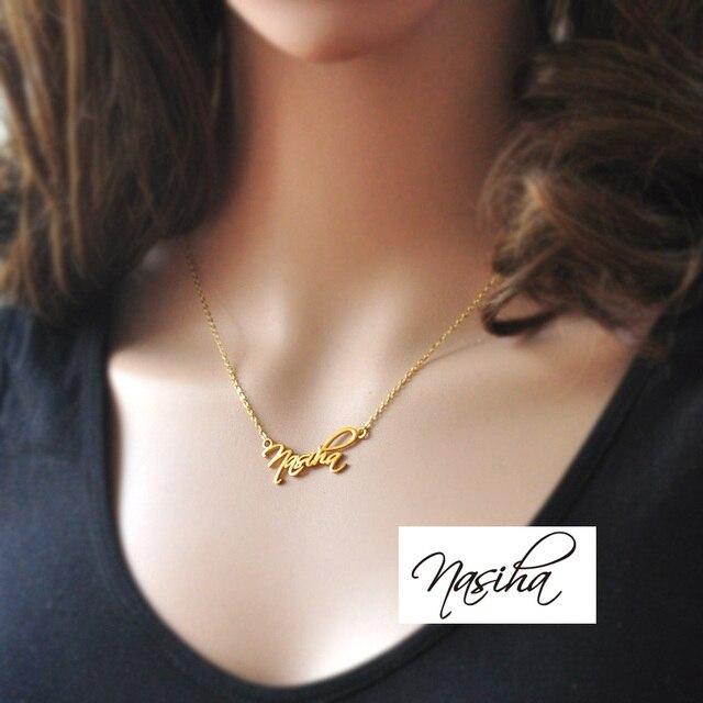 Персонализированные Имя Ожерелье, пользовательское имя Очарование, подпись ожерелье, позолоченные ожерелье, имя Ювелирные Изделия, серебряный кулон
