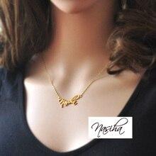 Collar Nombre personalizado, Encanto nombre personalizado, collar de la firma, collar chapado en oro, nombre de La Joyería, colgante de plata
