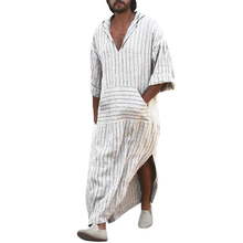 New Men T Shirts Ethnic Robes Casual Vintage Dress Mens Loose Striped Long Sleeve Hooded Vintage Casual Dress Men's T Shirt long sleeve t shirt tunic shift striped dress