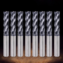 EndMill Cutting HRC55 4 Flute Cnc Tungsten Steel Milling Cutter Alloy Carbide End Mill For Metal Steel router bit Milling Tools free shipp 12 0x200lx12d micro grain carbide super long end mill cutter cnc milling bit for steel milling with 2flute china mill