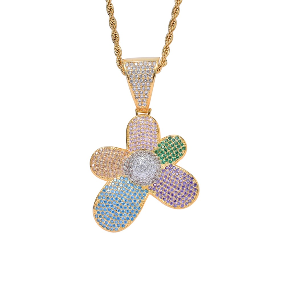 a3f290675468 Cheap Colorido Hip Hop flor joyería Micro Pave helado Arco Iris AAA +  Zirconia cúbica flor